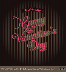 eps Vector image: 14 February Happy Valentine's Day