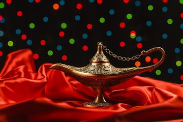 Golden Aladdin magic lamp