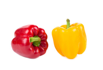 Ripe yellow and red bell peppers.