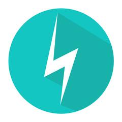 Vector flat design icon lightning circle, button, a symbol web