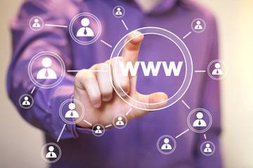 Businessman pushing virtual button www icon