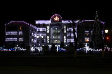 Здание Пенсионного фонда в Грозном ночью