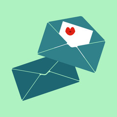 Vector  flat icon, love letters, mail, sending mail