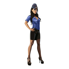 beautiful sexy woman in police uniform and garrison cap