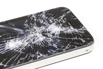 Smartphone with seriously broken display screen