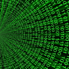 Abstract green binary code 3D vector line background of informat