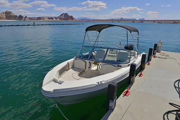 A Speedboat on Lake Powell in America