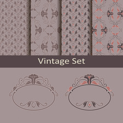 vintage set with frames and patterns