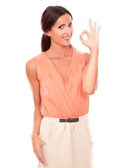 Smart young female gesturing a great job