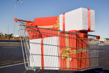 Shopping trolley full of gifts