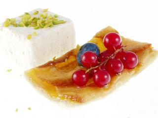 apple tart with coconut ice cream