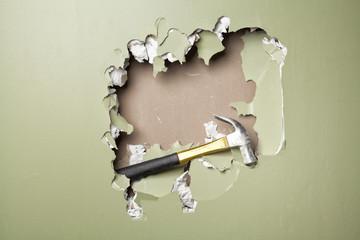 smash green wall  hammer