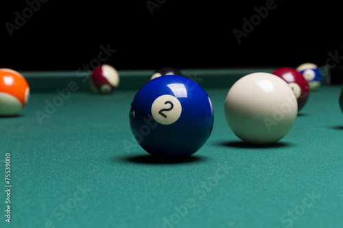 Staande foto Billiard balls in a pool table. focus on the two ball