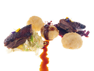 roast goose, cabbage salad and potato dumplings