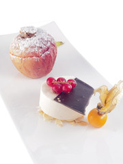baked apple with marzipan and cinnamon ice cream