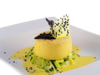 baked potato cake with leek and black truffle