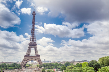 Paris, France. Amazing Eiffel Tower view from Trocadero, long ex