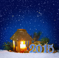 New Year 2015 background and Christmas lantern.