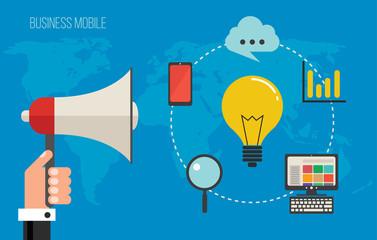 Business cloud marketing concept, vector illustration