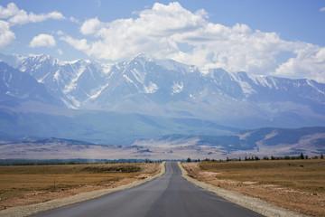 Asphalt road, Altai Mountains, Russia