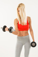 Fitness woman with dumbbells