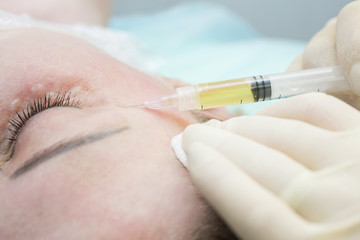Beautician procedure Plasmolifting injection