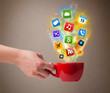 Coffee mug with colorful media icons