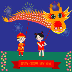 Chinese children holding the dragon for celebrate new year