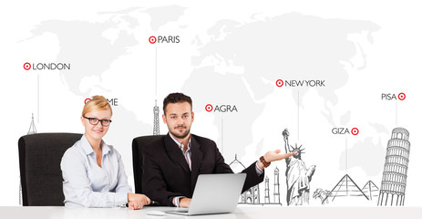 Businessman and businesswoman with world map and major landmarks