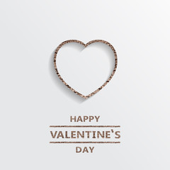 Wood Heart shape Happy valentine's day, icon background.