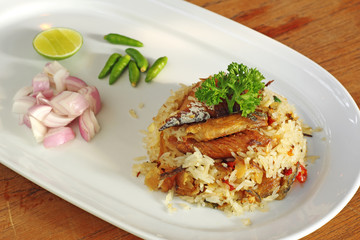 thai salted fried rice with herb in ceramic dish