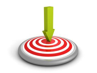 green arrow pointing in bull-eye center of target
