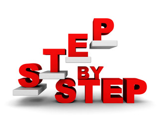 STEP BY STEP concept with abstract staircase