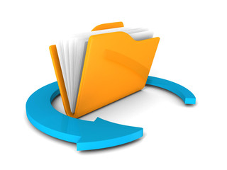 Yellow folder icon with blue round arrow on white