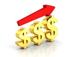 business dollar bar chart with growing arrow