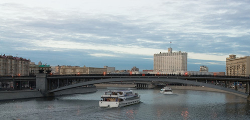 Moscow river in twilight