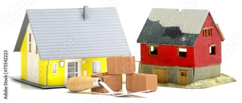 canvas print picture Haus mit Plan und Ziegelsteinen