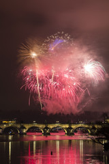 Prague fireworks, old town, Charles bridge and river Vltava