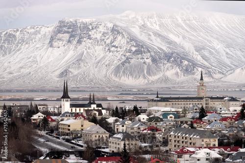 Fotobehang Noord Europa Panorama view of Reykjavik