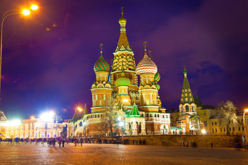 St. Basil's Cathedral in Moscow on Red Square. Night lighting