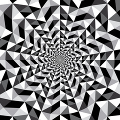 Black and white optical illusion triangle vector pattern, backgr