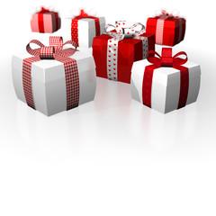 Dicke Geschenke Schleifen Polka Caro weiß