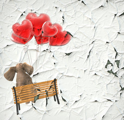 Elephant flying with balloons heart