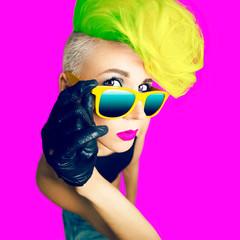 emotional glamorous lady  disco punk fashion style