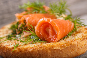 Salmon rolls with dill on toasted bread, shallow dof