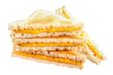 Pile of cheese toast sandwiches , isolated on white