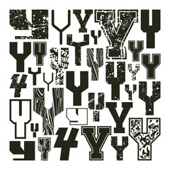 Set versions of letters Y