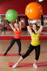 Exercises with pilates fitballs