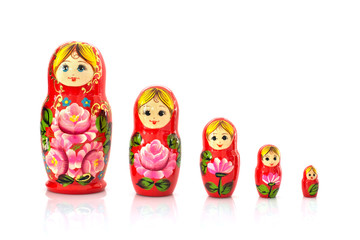 Set of five matryoshka russian nesting dolls