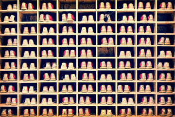 Collection of bowling shoes in their rack background